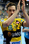 GER - Mannheim, Germany, September 23: Players of Rhein-Neckar Loewen celebrate after winning the DKB Handball Bundesliga match between Rhein-Neckar Loewen (yellow) and TVB 1898 Stuttgart (white) on September 23, 2015 at SAP Arena in Mannheim, Germany. Final score 31-20 (19-8) .  Patrick Groetzki #24 of Rhein-Neckar Loewen<br /> <br /> Foto &copy; PIX-Sportfotos *** Foto ist honorarpflichtig! *** Auf Anfrage in hoeherer Qualitaet/Aufloesung. Belegexemplar erbeten. Veroeffentlichung ausschliesslich fuer journalistisch-publizistische Zwecke. For editorial use only.