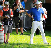Padraig Harrington (IRL) prepares to chip into the 18th green during Friday's Round 2 of the 2014 Irish Open held at Fota Island Resort, Cork, Ireland. 20th June 2014.<br /> Picture: Eoin Clarke www.golffile.ie