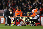 Kieron Freeman of Sheffield Utd lies injured during the English League One match at the Bramall Lane Stadium, Sheffield. Picture date: November 19th, 2016. Pic Simon Bellis/Sportimage