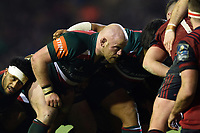 Dan Cole of Leicester Tigers prepares to scrummage against his opposite number. European Rugby Champions Cup match, between Leicester Tigers and Munster Rugby on December 17, 2017 at Welford Road in Leicester, England. Photo by: Patrick Khachfe / JMP