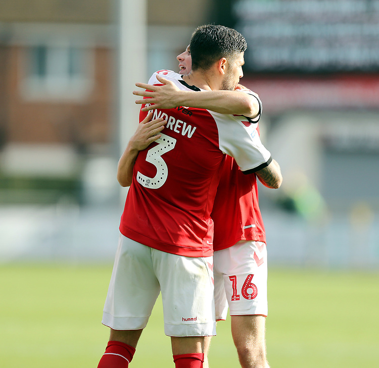 Fleetwood Town's Danny Andrew and Jordan Rossiter celebrate at he final whistle<br /> <br /> Photographer Rich Linley/CameraSport<br /> <br /> The EFL Sky Bet League One - Fleetwood Town v Oxford United - Saturday 7th September 2019 - Highbury Stadium - Fleetwood<br /> <br /> World Copyright © 2019 CameraSport. All rights reserved. 43 Linden Ave. Countesthorpe. Leicester. England. LE8 5PG - Tel: +44 (0) 116 277 4147 - admin@camerasport.com - www.camerasport.com