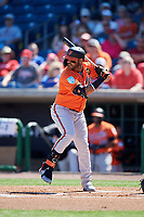 Baltimore Orioles second baseman Jonathan Villar (2) at bat during a Grapefruit League Spring Training game against the Philadelphia Phillies on February 28, 2019 at Spectrum Field in Clearwater, Florida.  Orioles tied the Phillies 5-5.  (Mike Janes/Four Seam Images)