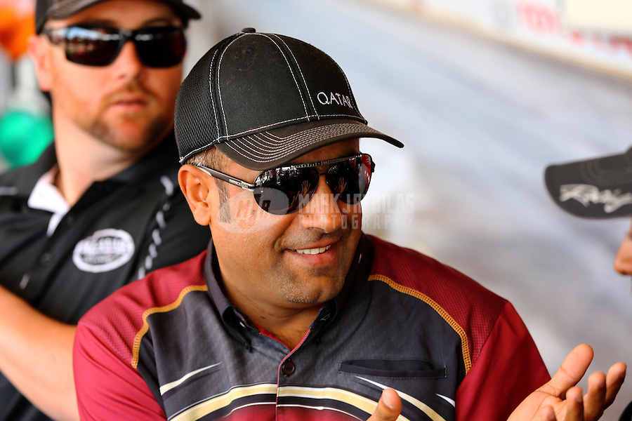 Nov 8, 2013; Pomona, CA, USA; NHRA top fuel dragster driver Khalid Alabooshi during qualifying for the Auto Club Finals at Auto Club Raceway at Pomona. Mandatory Credit: Mark J. Rebilas-