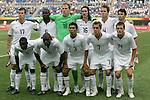 07 August 2008: United States starting eleven.  Front row (l to r): Freddy Adu (USA), Marvell Wynne (USA), Michael Orozco (USA), Stuart Holden (USA), Robbie Rogers (USA).  Back row (l to r): Brian McBride (USA), Maurice Edu (USA), Brad Guzan (USA), Sasha Kljestan (USA), Michael Bradley (USA), Michael Parkhurst (USA).  The men's Olympic team of the United States defeated the men's Olympic soccer team of Japan 1-0 at Tianjin Olympic Center Stadium in Tianjin, China in a Group B round-robin match in the Men's Olympic Football competition.