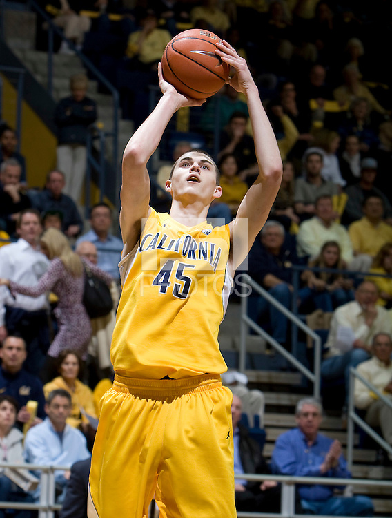 David Kravish of California shoots the ball during the game against Arizona at Haas Pavilion in Berkeley, California on February 2nd, 2012.  Arizona defeated California, 78-74.