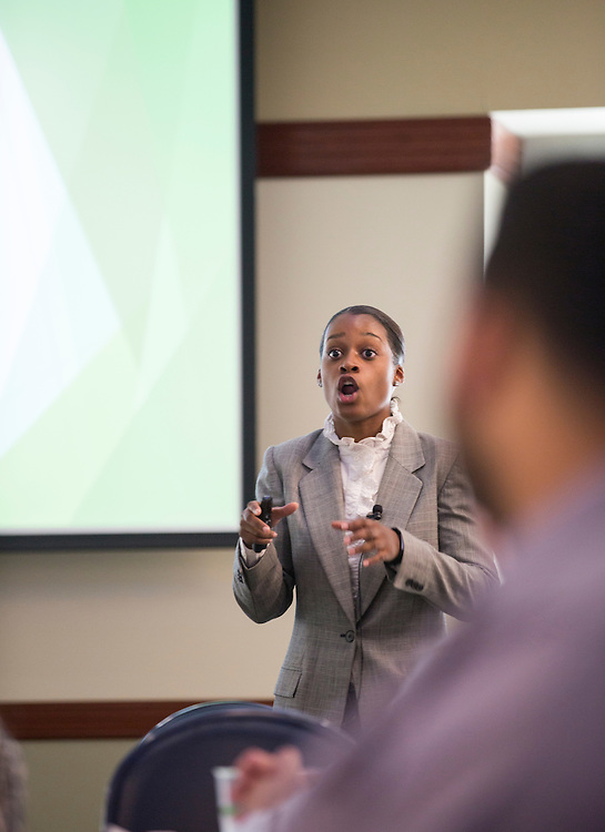 Brittany Tyree, the Senior Assistant Director of Career Management, gives students in the College of Business pointers on how to deliver their pitches at career fairs during the How to Meet the Firms interactive student workshop on Sept. 6, 2016. Photo by Emily Matthews