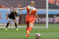 Houston, TX - Saturday April 15, 2017: Kealia Ohai takes a shot at the Chicago goal during a regular season National Women's Soccer League (NWSL) match won by the Houston Dash 2-0 over the Chicago Red Stars at BBVA Compass Stadium.