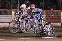 Heat 13: Davey Watt (red) and Ryan Sullivan - Lakeside Hammers vs Peterborough Panthers - Sky Sports Elite League Speedway at Arena Essex Raceway, Purfleet - 14/09/12 - MANDATORY CREDIT: Gavin Ellis/TGSPHOTO - Self billing applies where appropriate - 0845 094 6026 - contact@tgsphoto.co.uk - NO UNPAID USE.