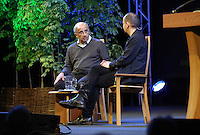 Sunday 25 May 2014, Hay on Wye, UK<br /> Pictured L-R: Judge Brian Leveson speaks to Phillippe Sands. <br /> Re: The Hay Festival, Hay on Wye, Powys, Wales UK.