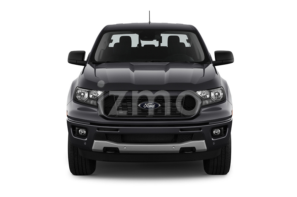 Car photography straight front view of a 2019 Ford Ranger XLT 4 Door Pick-up Front View