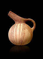 Early Minoan rounded jug with typical brownish red painted converging daigonal lines,  Hagios Onouphrios 2900-1900 BC BC, Heraklion Archaeological  Museum, black background.