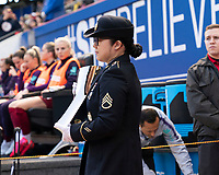 HARRISON, NJ - MARCH 08: The military escort brings out the SheBelieves trophy during a game between England and Japan at Red Bull Arena on March 08, 2020 in Harrison, New Jersey.