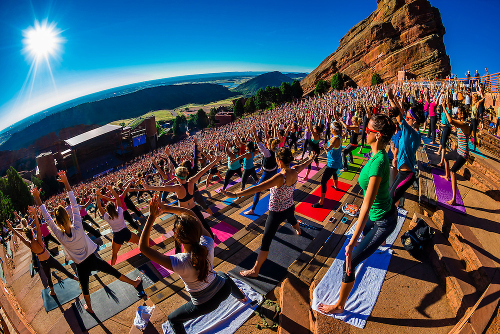 Yoga On The Rocks 2000 People Doing Yoga Together At Red Rocks Amphitheatre Morrison Denver Colorado Usa Blaine Harrington Iii