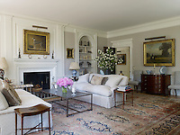 The triple aspect drawing room has been fitted with new mouldings and a new chimneypiece