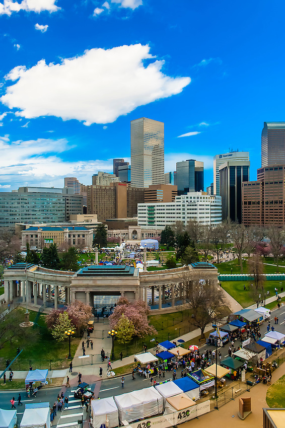 Overview of Civic Center Park and Downtown Denver, 420 Cannabis Culture Music Festival, Civic Center Park, Downtown Denver, Colorado USA.
