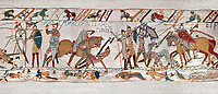 11th Century Medieval Bayeux Tapestry - Scene 57 - Harold dies after being shot in the eye with an arrow. Scene 58 - Williams army routes the saxom army. Battle of Hastings 1066.