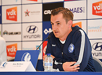 20190819 – GENT, BELGIUM : Gent's head coach Dave Mattheus pictured during a pre-season press conference presenting the new players  , new staff and new methods for the next season 2019-2020 for the AA Gent Ladies in the Belgian top division – The Superleague -  , Monday 19 th August 2019 at the Ghelamco Stadium in GENT  , Belgium  .  PHOTO SPORTPIX.BE | DAVID CATRY