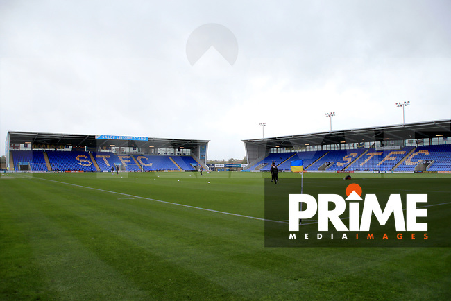 General View of Shrewsbury Town Stadium Greenhous Meadow during the Sky Bet League 1 match between Shrewsbury Town and Fleetwood Town at Greenhous Meadow, Shrewsbury, England on 21 October 2017. Photo by Leila Coker / PRiME Media Images.