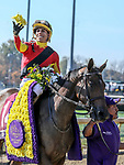 November 3, 2018: Shamrock Rose #14, ridden by Irad Ortiz, Jr., wins the Breeders' Cup Filly & Mare Sprint on Breeders' Cup World Championship Saturday at Churchill Downs on November 3, 2018 in Louisville, Kentucky. Candice Chavez/Eclipse Sportswire/CSM