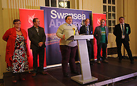 Pictured: Transgender Liberal Democrat candidate for Swansea East, Charley Hasted (3rd L) gives a thank you speech after the results were announced. Friday 09 June 2017<br />Re: Counting of ballots at Brangwyn Hall for the general election in Swansea, Wales, UK