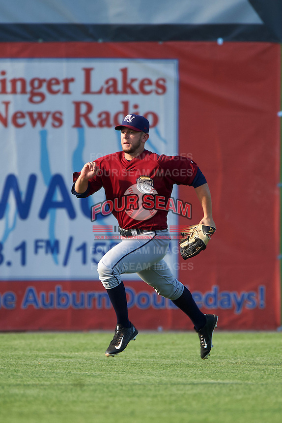 Mahoning Valley Scrappers left fielder Andrew Calica (26) during a game against the Auburn Doubledays on July 17, 2016 at Falcon Park in Auburn, New York.  Mahoning Valley defeated Auburn 3-2.  (Mike Janes/Four Seam Images)