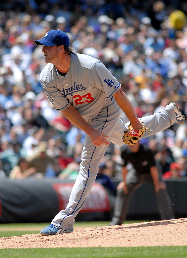 Los Angeles Dodgers pitcher Derrek Lowe during a Game against the Colorado Rockies at Coors Field in Denver, CO on May 4, 2008.