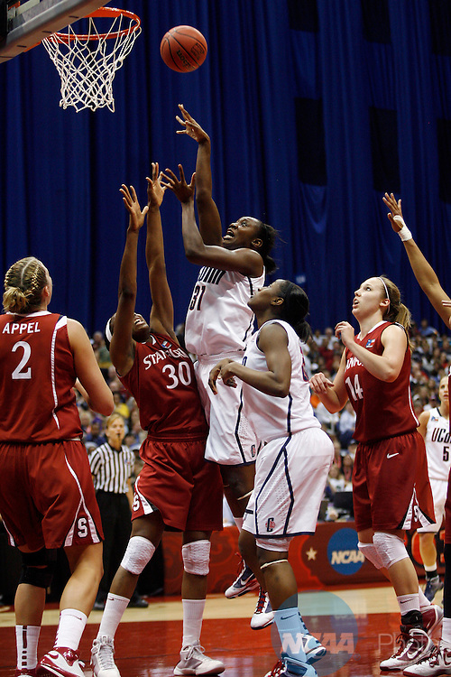 06 APR 2010:  Tina Charles (31) of the University of Connecticut puts up a shot over Nnemkadi Ogwumike (30) of Stanford University during the Division I Women's Basketball Championship held at the Alamodome in San Antonio, TX.  Connecticut defeated Stanford 53-47 for the national title.  Jamie Schwaberow/NCAA Photos