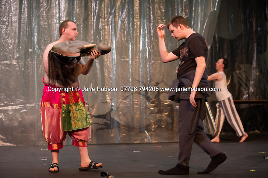 Edinburgh, UK. 09.08.2014.  GANESH VERSUS THE THIRD REICH, presented by Australian company, Back to Back Theatre, opens at the Royal Lyceum Theatre, as part of the Edinburgh International Festival. Picture shows:  Brian Tilley, Scott Price and Simon Laherty. Photograph © Jane Hobson.