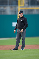 Umpire Shane Livensparger during an International League game between the Indianapolis Indians and Columbus Clippers on April 29, 2019 at Victory Field in Indianapolis, Indiana. Indianapolis defeated Columbus 5-3. (Zachary Lucy/Four Seam Images)