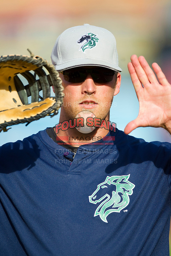 Lars Anderson (27) of the Charlotte Knights during infield practice prior to the game against the Toledo Mudhens at 5/3 Field on May 3, 2013 in Toledo, Ohio.  The Knights defeated the Mudhens 10-2.  (Brian Westerholt/Four Seam Images)