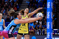 Steel's Jennifer O&rsquo;Connell and Pulse&rsquo; Sulu Fitzpatrick in action during the ANZ Premiership - Pulse v Steel at Te Rauparaha Arena, Porirua, New Zealand on Wednesday 30 May 2018.<br /> Photo by Masanori Udagawa. <br /> www.photowellington.photoshelter.com