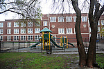 The playground at Kilmer Elementary School stands empty yesterday and today after Chicago Public Schools, CPS, officials closed the school where one case of the swine flu was reported among the students, in the Rogers Park neighborhood of Chicago, Illinois on April 30, 2009.
