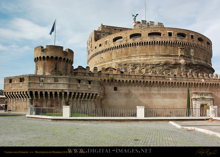 Castle San Angelo and Southeast Bastion Tower Castel sant'Angelo Mausoleum of Hadrian 139 AD Ponte sant'Angelo Rome