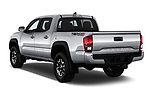 Car pictures of rear three quarter view of a 2018 Toyota Tacoma TRD Off Road Double Cab 4 Door Pick Up angular rear