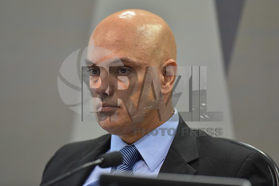 BRASÍLIA, DF, 21.02.2017 – SABATINA-SENADO – O ministro da justiça licenciado e indicado ao STF, Alexandre de Moraes, durante sabatina na CCJ do Senado, na tarde desta terça-feira, 21. (Foto: Ricardo Botelho/Brazil Photo Press)