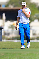 Paul Dunne (IRL) walks off during Thursday's Round 1 of the 2016 Portugal Masters held at the Oceanico Victoria Golf Course, Vilamoura, Algarve, Portugal. 19th October 2016.<br /> Picture: Eoin Clarke | Golffile<br /> <br /> <br /> All photos usage must carry mandatory copyright credit (&copy; Golffile | Eoin Clarke)