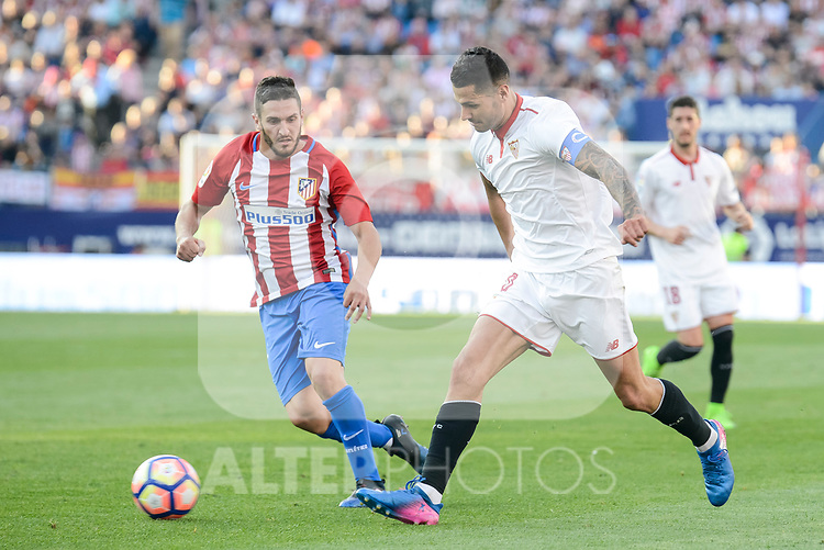 "Atletico de Madrid's Koke Resurrección and Sevilla's Victor ""Vitolo"" Machin during La Liga match between Atletico de Madrid and Sevilla CF at Vicente Calderon Stadium in Madrid, Spain. March 19, 2017. (ALTERPHOTOS/BorjaB.Hojas)"