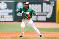 Frankie Ratcliff #19 of the Miami Hurricanes takes his lead off of first base against the Virginia Cavaliers at the 2010 ACC Baseball Tournament at NewBridge Bank Park May 29, 2010, in Greensboro, North Carolina.  The Cavaliers defeated the Hurricanes 12-8.  Photo by Brian Westerholt / Four Seam Images