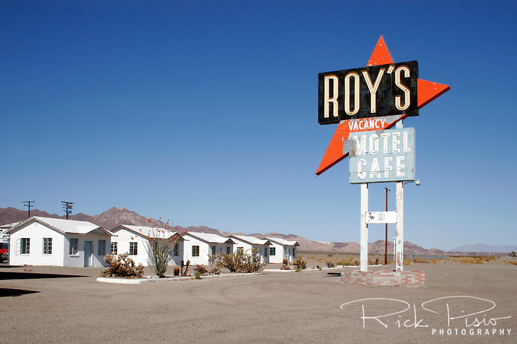 Located on historic Route 66 in Amboy, California Roy's is a well known stop while traveling through the Mojave desert. Featured in numerous movies the site has become an icon for the lonely desert gas stop.