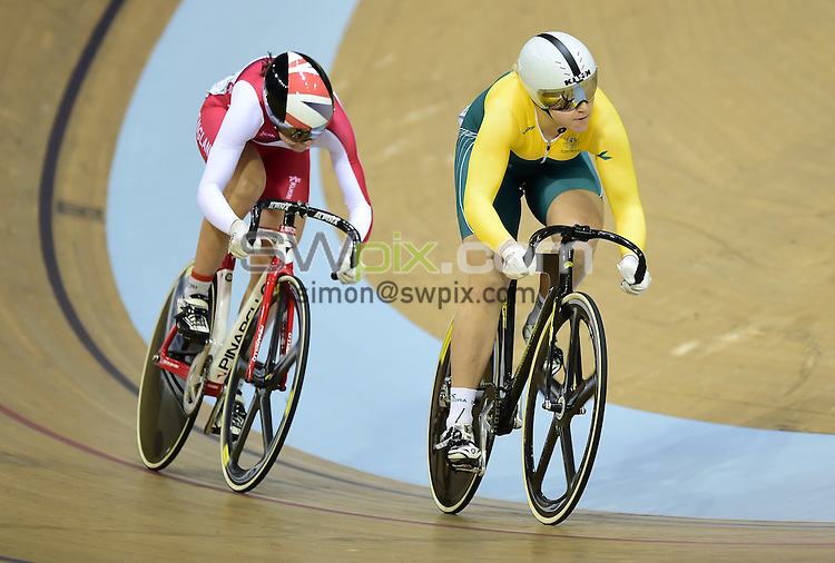 Picture by Alex Broadway/SWpix.com - 26/07/2014 - 2014 Glasgow Commonwealth Games, Day 3 - Track Cycling - Sir Chris Hoy Velodrome, Glasgow, Scotland - Dannielle Khan of England and Stephanie Morton of Australia compete in the Women's Sprint Quarter-Finals.