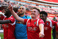 Mark Shelton of Salford City celebrates their victory at the final whistle during AFC Fylde vs Salford City, Vanarama National League Football Promotion Final at Wembley Stadium on 11th May 2019