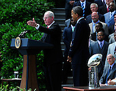 Head Coach Tom Coughlin makes remarks as United States President Barack Obama welcomes the Super Bowl Champion New York Giants to the White House in Washington, D.C. on Friday, June 8, 2012..Credit: Ron Sachs / CNP.(RESTRICTION: NO New York or New Jersey Newspapers or newspapers within a 75 mile radius of New York City)