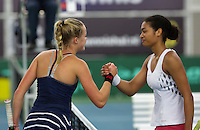 Rotterdam, The Netherlands, March 20, 2016,  TV Victoria, NOJK 14/18 years, Nina Kruijer (NED) wins girls 18 years and is congratulated by Dinah Cameron (R)<br /> Photo: Tennisimages/Henk Koster