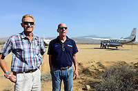 KENYA, Marsabit, airstrip of Lake Turkana Wind Power Project, left: site manager Nick Taylor, right: general manager Phylip Lefezink, Vestas will supply in the next four years wind turbines and rotor blades for the 310 MW project, the largest windfarm in africa / KENIA, Marsabit, Landepiste des Lake Turkana Wind Power Projekt, hier werden in den naechsten 4 Jahren Wind Turbinen und Rotorblaetter des Herstellers Vestas fuer das 310 MW Projekt aufgebaut