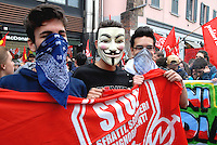 Milano 1 may 2015<br /> Demonstration against EXPO 2015.<br /> Young protesters with Anonymous mask.<br /> Photo Livio Senigalliesi