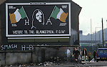 Wall painting mural political poster Bobby Sands, Francis Hughes, Patsy O'Hara, Raymond McCreesh. All IRA hunger strikers.