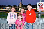 Breda Cronin, Lily Brosnan, Shauna Brosnan, Ryan Brosnan from Tralee enjoying a night at the dogs at the Kingdom Greyhound Stadium on Friday