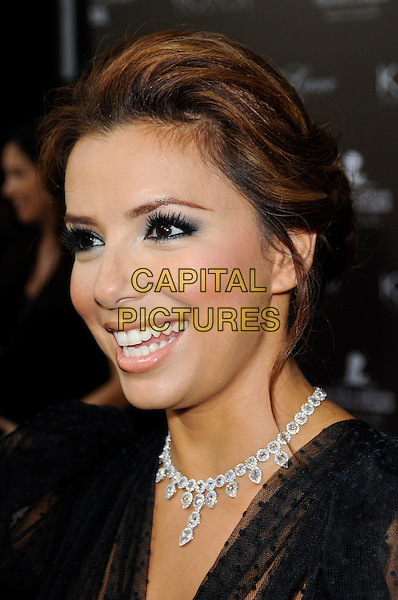 EVA LONGORIA PARKER .arriving at the Neil Lane Bridal Jewelry Launch Event at Drai's Nightclub in the W Hotel in Hollywood, California, USA,.22nd July 2010..portrait headshot diamond necklace smiling hair up  black  sheer  see thru through profile .CAP/ROT.©Lee Roth/Capital Pictures