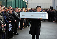 COPY BY TOM BEDFORD<br /> Pictured: Paul Black carries the white coffin of his daughter Pearl after the service out of the Jerusalem Baptist Chapel in Merthyr Tydfil, Wales, UK. Friday 18 August 2017<br /> Re: The funeral of a toddler who died after a parked Range Rover's brakes failed and it hit a garden wall which fell on top of her will be held today at Jerusalem Baptist Chapel in Merthyr Tydfil.<br /> One year old Pearl Melody Black and her eight-month-old brother were taken to hospital after the incident in south Wales.<br /> Pearl's family, father Paul who is The Voice contestant and mum Gemma have said she was &quot;as bright as the stars&quot;.