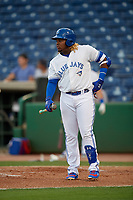 Dunedin Blue Jays third baseman Vladimir Guerrero Jr. (27) at bat during a Florida State League game against the Clearwater Threshers on April 4, 2019 at Spectrum Field in Clearwater, Florida.  Dunedin defeated Clearwater 11-1.  Guerrero is on an injury rehab assignment from the Triple-A Buffalo Bisons.  (Mike Janes/Four Seam Images)